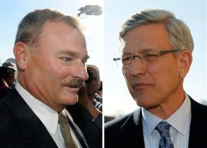 This combo from Nov. 7, 2011 file photos, shows former Penn State vice president Gary Schultz, left, and former athletic director Tim Curley, right.