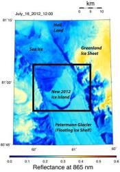 This NASA image provided by the University of Delaware shows the crack in northwestern Greenland's Petermann Glacier.