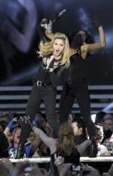 Madonna performs on stage in Hyde Park, London, as part of her MDNA concert tour, Tuesday July 17, 2012.