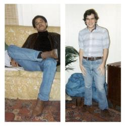 In this personal photo combo released by Phil Boerner is shown Boerner, right, and his college roommate, Barack Obama, in their New York City apartment in the early 1980s.