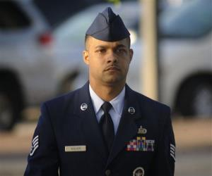 Air Force Staff Sgt. Luis Walker arrives for the fourth day of his trial at Lackland Air Force Base in San Antonio, Texas, Friday.