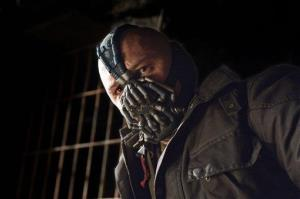 This undated film image released by Warner Bros. Pictures shows Tom Hardy as Bane in a scene from the action thriller The Dark Knight Rises.