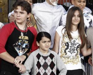 Prince, Blanket and Paris Jackson appear together after a hand and footprint ceremony honoring their late dad in front of Grauman's Chinese Theatre in Los Angeles earlier this year.