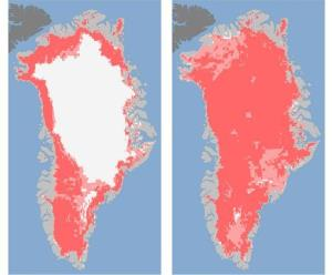 Satellite images that show the extent of surface melt over Greenland's ice sheet on July 8, left, and July 12, right.