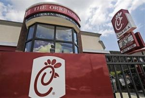 This Thursday, July 19, 2012 photo shows a Chick-fil-A fast food restaurant in Atlanta.