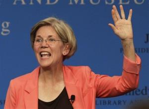 Massachusetts Senate candidate Elizabeth Warren waves to voters at the conclusion of a forum at the John F. Kennedy Presidential Library and Museum in Boston last week.