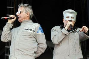 Mark Mothersbaugh, left, and Gerald Casale of Devo perform in Chicago in 2010.