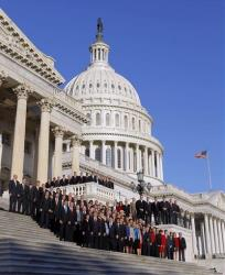The freshmen class of House members of the 112th Congress pose for a group photo in November 2010.