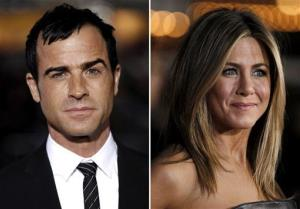 This combo made from Feb. 16 file photos shows Justin Theroux, left, and Jennifer Aniston.