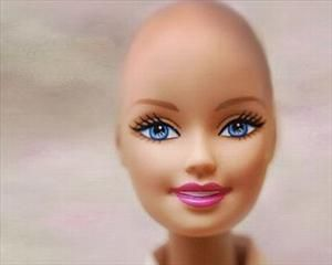 An image of a bald Barbie from the Facebook campaign.