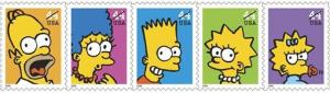This undated file photo provided by the U.S. Postal Service shows the five 44-cent postage stamps featuring The Simpsons.