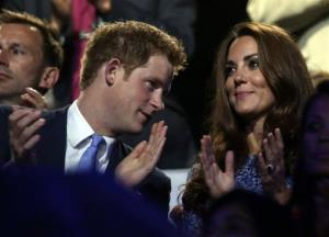 Prince Harry has a word with the Duchess of Cambridge at the Olympics.