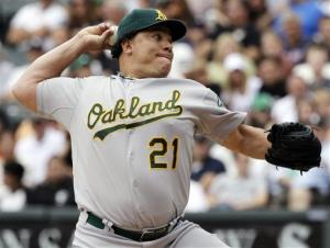 Oakland Athletics starter Bartolo Colon throws against the Chicago White Sox earlier this month.