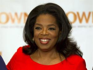 Oprah Winfrey arrives for Oprah's Lifeclass Tour in Toronto on Monday April 16, 2012.