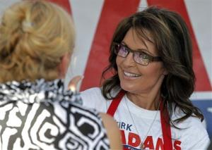 Sarah Palin serves lunch to guests after speaking at a campaign rally for Republican candidate Kirk Adams in Arizona earlier this week.