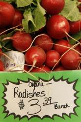 Organic radishes at the Pacifica Farmers Market in Pacifica, California.