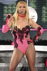 In this Sept. 24, 2011 file photo, singer Britney Spears performs on a stage during a concert in Moscow, Russia, during her European tour.