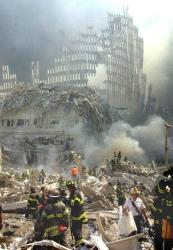 In this Sept. 11, 2001 file photo, a shell of what was once part the twin towers of New York's World Trade Center rises above the rubble after both towers were destroyed in the terrorist attacks.