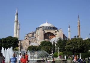 This in July 2011 photo shows Aya Sofya, a landmark in Instanbul, Turkey.