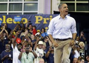 President  Obama takes the stage to speak at a campaign event in Toledo earlier this month.