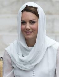 Kate, the Duchess of Cambridge, prepares to visit a mosque in Kuala Lumpur, Malaysia, Friday, Sept. 14, 2012.