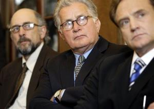 Actors from The West Wing, from left,  Richard Schiff, Martin Sheen, and Bradley Whitford prepare to speak on Capitol Hill in 2009.