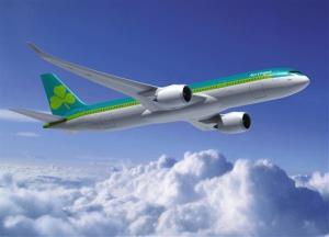 A computer-generated image of an Aer Lingus Airbus A350.