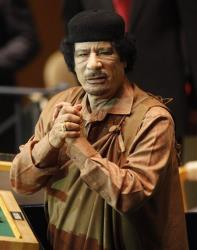 In this Sept. 23, 2009 photo, Libyan leader Moammar Gadhafi  speaks at the 64th session of the General Assembly at United Nations headquarters, Wednesday, Sept. 23, 2009.