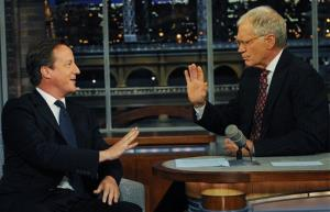 David  Cameron talks with David Letterman after he addressed the United Nations General Assembly in New York Wednesday night.