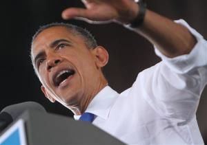 President Barack Obama speaks at Farm Bureau Live during a campaign stop in Virginia Beach, Va.  on Thursday, Sept. 27, 2012.