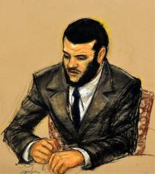 In this photo of a sketch by courtroom artist Janet Hamlin, Canadian detainee Omar Khadr appears in court in 2010.