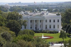 This Thursday, Sept. 20, 2012 photo shows the White House in Washington, as President Barack Obama campaigns out of town.