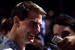 Tom Cruise talks to reporters in Brazil in this 2011 file photo.
