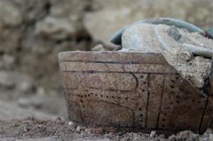 A ceramic pot found in a burial chamber at the El Peru-Waka archaeological site in Laguna del Tigre National Park in Peten, north of Guatemala City.