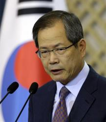 Chun Young-woo, secretary for foreign affairs and national security, speaks in Seoul, Sunday, Oct. 7, 2012. South Korea said the US will allow it longer-range missiles that could hit North Korea.