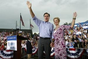 Republican presidential candidate and former Massachusetts Gov. Mitt Romney and wife Ann campaign at Tradition Town Square in Port St. Lucie, Fla., Sunday, Oct. 7, 2012.
