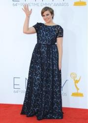 Actress Lena Dunham arrives at the 64th Primetime Emmy Awards at the Nokia Theatre on Sunday, Sept. 23, 2012, in Los Angeles.
