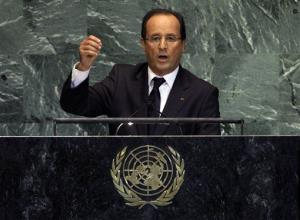 French President Francois Hollande addresses the 67th session of the United Nations General Assembly last month.