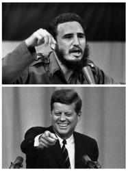 Above: Cuban leader Fidel Castro in 1962, and below, President John F. Kennedy in Washington, April 3, 1963.