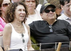 Rhea Perlman and Danny DeVito laugh at a speech while attending their daughter Grace DeVito's graduation at Brown University in Providence, RI, Sunday, May 27, 2007.