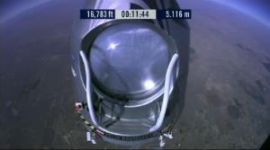 Felix Baumgartner is on his way up in his quest to break the speed of sound in freefall.