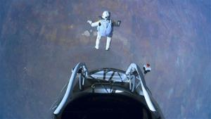 This image made from video, provided by Red Bull Stratos shows pilot Felix Baumgartner of Austria as he jumps out of the capsule during the final manned flight for Red Bull Stratos on Sunday, Oct. 14, 2012.