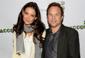 Actors Katie Holmes, left, and Norbert Leo Butz from the cast of the Broadway play Dead Accounts pose for a photo during press day at Sardi's Restaurant on Friday Oct. 12, 2012 in New York.