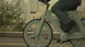 A screen grab from a video about the cardboard bike.