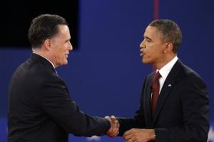 President Barack Obama and Republican presidential nominee Mitt Romney shakes hands at the conclusion of the second presidential debate at Hofstra University, Tuesday, Oct. 16, 2012, in Hempstead, NY.