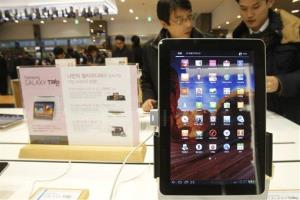 A Samsung Electronics' Galaxy Tab 10.1 is displayed at the showroom of its headquarters in Seoul, South Korea,