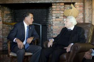 Mitt Romney meets with Rev. Billy Graham, at his home last week in North Carolina.