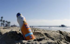 A bottle of Banana Boat sunscreen.
