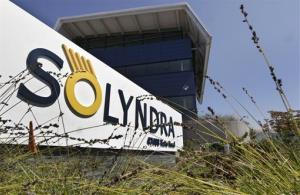 In this Sept. 16, 2011 file photo the Exterior of solar-panel manufacturer Solyndra is seen in Fremont, Calif.