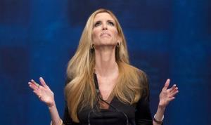 Ann Coulter gestures while speaking at the Conservative Political Action Conference (CPAC) in Washington,  Friday, Feb. 10, 2012.